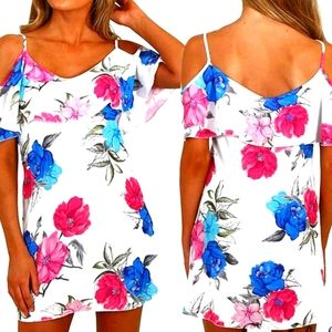 Cold Shoulder Flower Print Backless Dress- YOINS